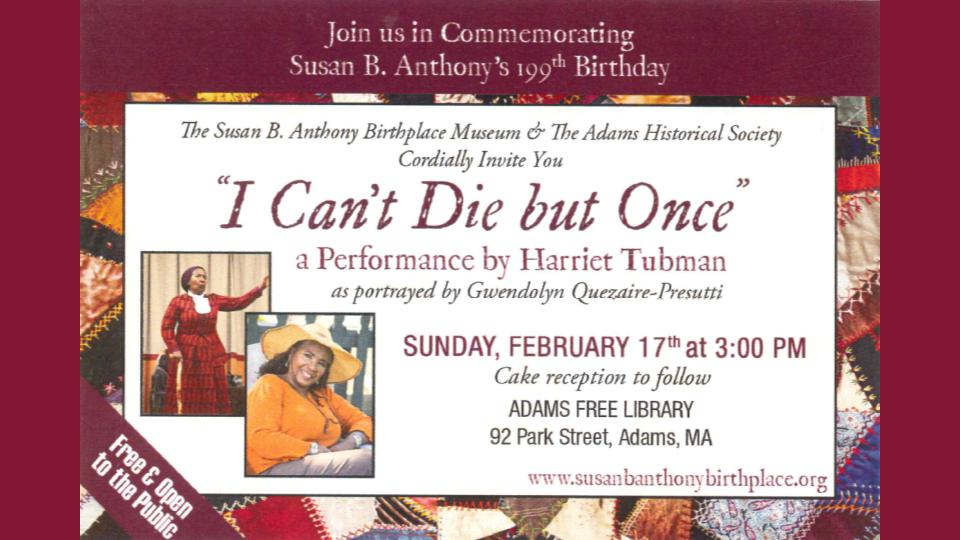 Susan B. Anthony's 199th Birthday @ Adams Library Memorial Hall