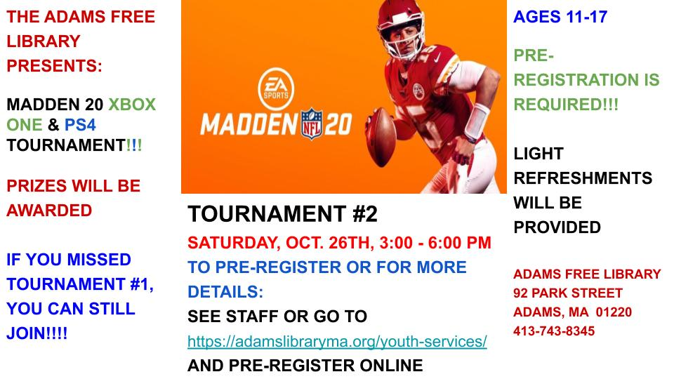 Registration Required Madden 20 Tournament @ Miller Annex Adams Library