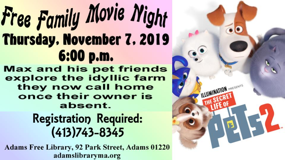 Registration Required Free Family Movie Night @ Adams Library