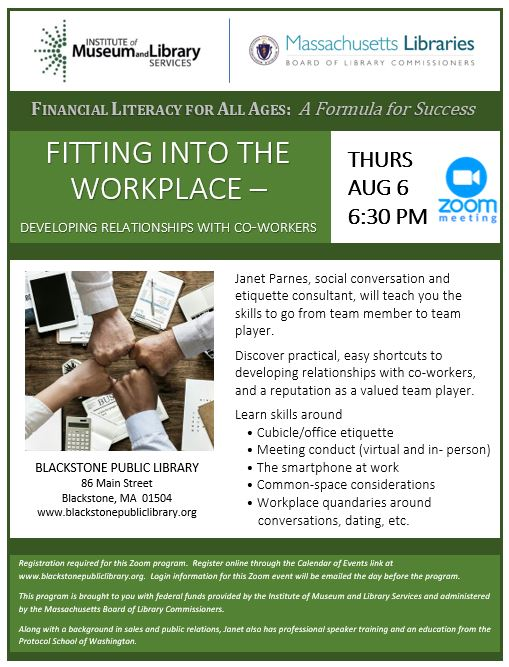 Blackstone Public Library presents Fitting into the workplace – Developing relationships with co-workers @ Blackstone Public Library Virtual Event
