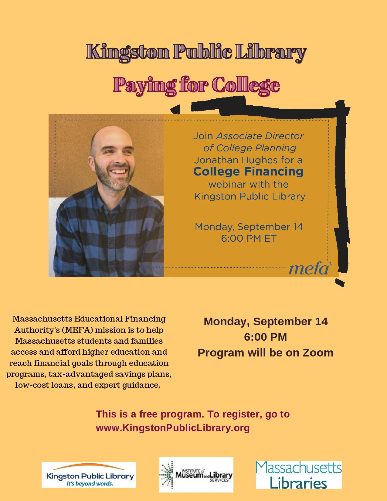 """Kingston Public Library Presents """"Paying for College"""""""