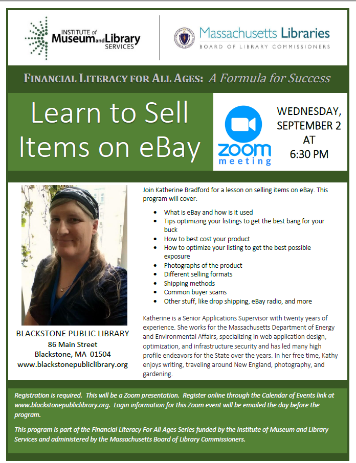 Blackstone Public Library Presents Learn to Sell Items on eBay