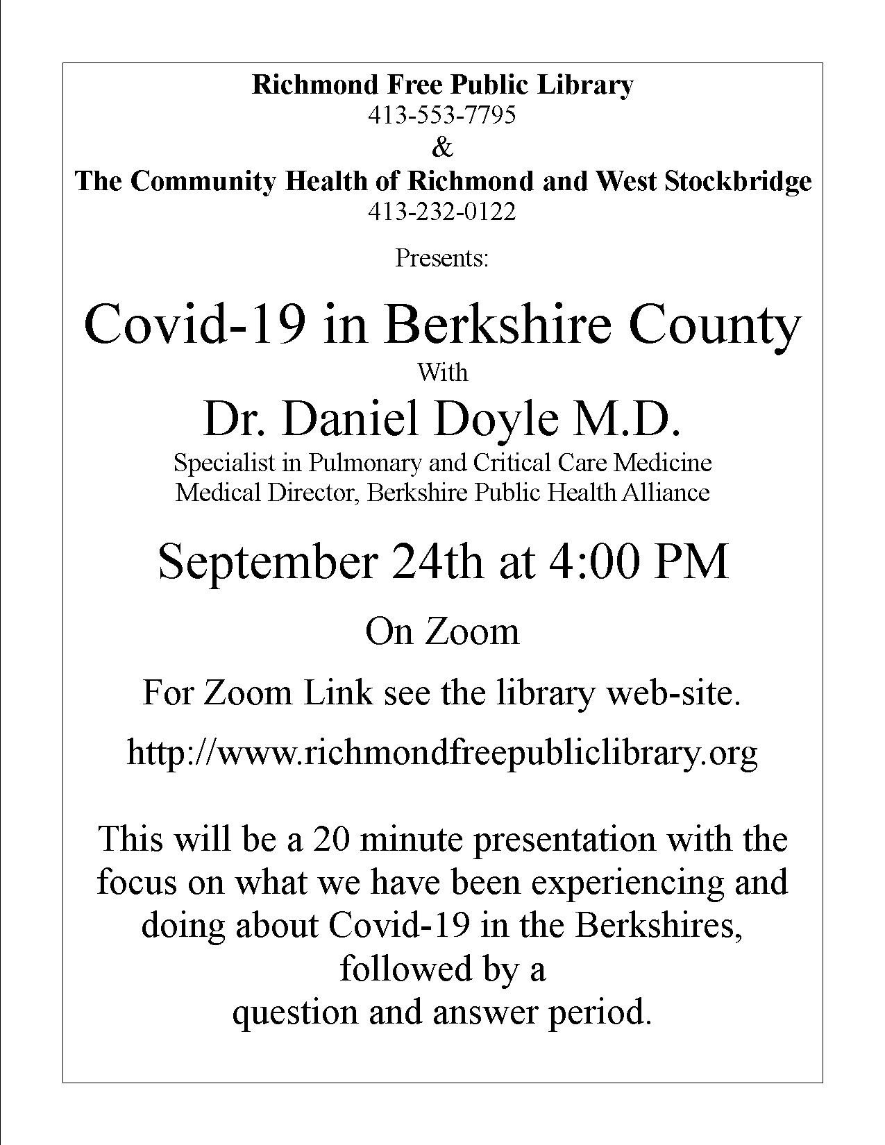 """Richmond Free Public Library presents """"Covid-19 in Berkshire County with Dr. Daniel Doyle M.D. and Emilie Jarrett RN, BSN"""""""