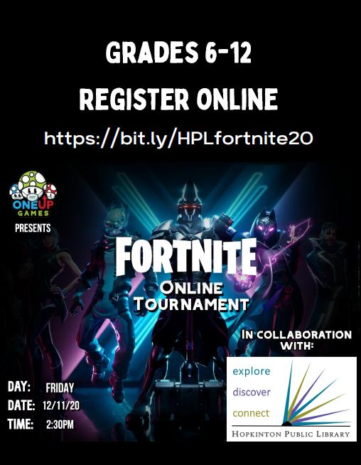 Hopkinton Public Library presents a FORTNITE online tournament