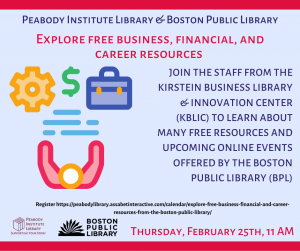 Peabody Institute Library & BPL present- Free Business, Financial and Career Resources