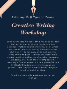 Southwick Public Library presents- Creative Writing Workshop with Melissa Volker