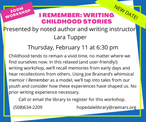 Bancroft Memorial Library presents- I Remember: Writing Childhood Stories