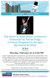 Stoughton Public Library & Karlus Trapp Presents: The Roots of Black Music in America Virtual Concert for all ages