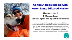 Duxbury Free Library presents- All About Dogsledding with Karen Land, Iditarod Musher