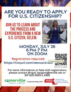 Somerville Public Library presents- Meet New U.S. Citizen, Ozlem