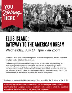 Joshua Hyde Public Library presents- Ellis Island: Gateway to the American Dream Virtual Tour