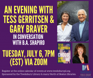 Tewksbury Public Library presents- VIRTUAL BESTSELLING AUTHOR SERIES: An Evening With Tess Gerritsen & Gary Braver