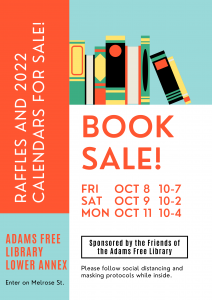 """<b><p style=""""color:blue"""">Friends of the Adams Free Library Book Sale</p></b> @ Adams Free Library"""
