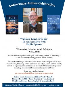 Maynard Public Library presents- Virtual Author Talk with William Kent Krueger
