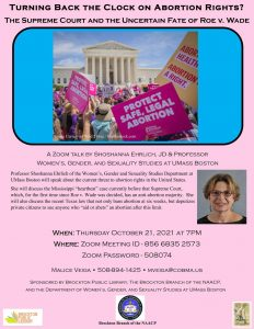 Brockton Public Library presents- (Virtual) Turning Back the Clock on Abortion Rights with Professor Shoshanna Ehrlich