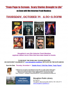 Stoughton Public Library presents- Virtual-From Page to Scream: Scary Stories Brought to Life with Frank Mandosa