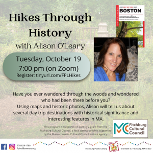Fitchburg Public Library presents- (Virtual) Hikes Through History with Alison O'Leary